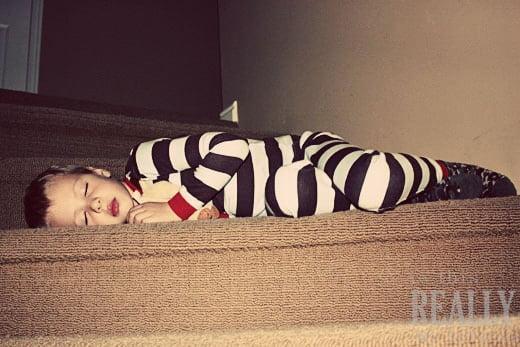sleeping on stairs