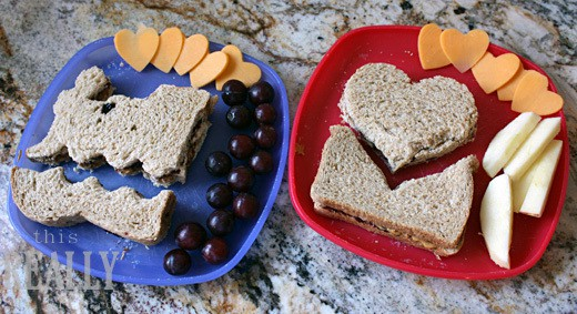 PB&J cookie cutter sandwich