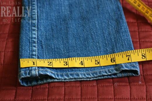 measuring jeans leg opening