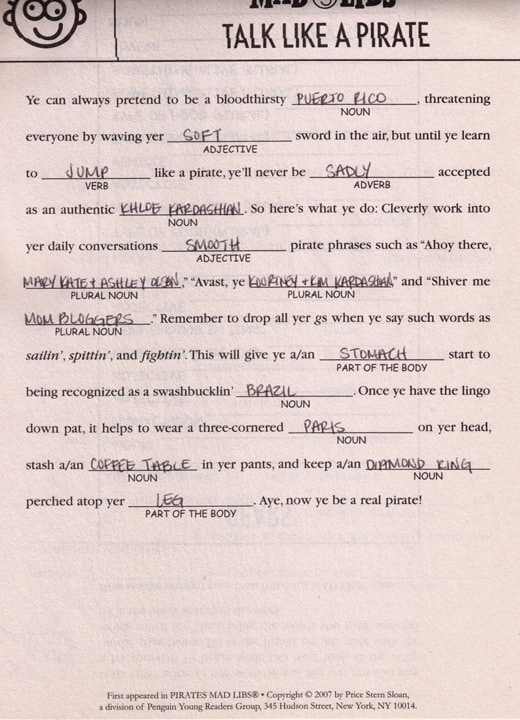 Mad Libs by Alicia of Mommy Delicious