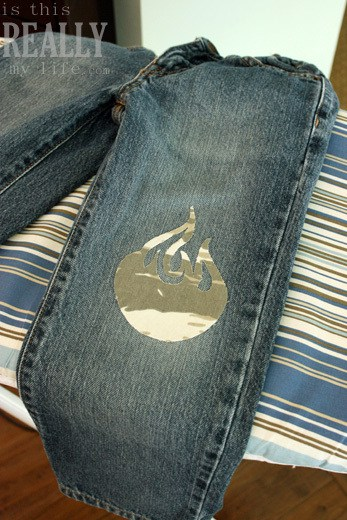 camo flame patch for jeans