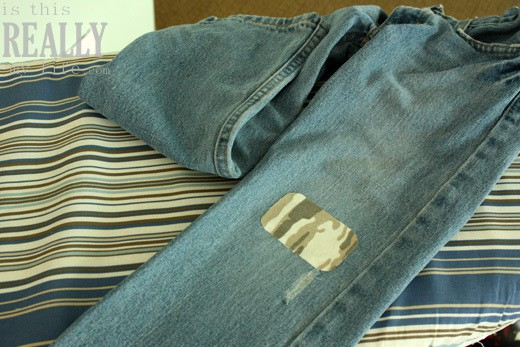 camo patch on jeans