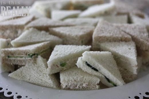 finger tea cucumber sandwiches