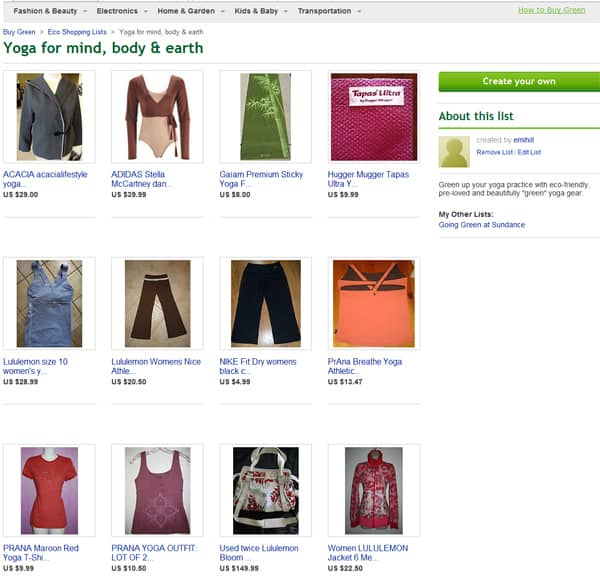 eBay Green Eco Shopping List