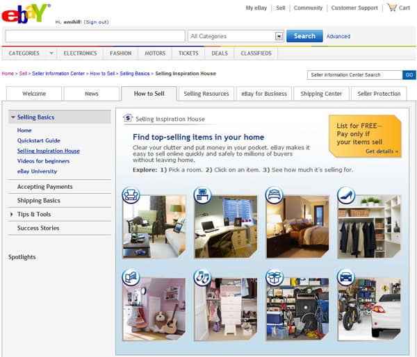 eBay Selling Inspiration House
