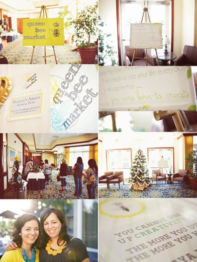 queen bee market collage