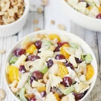 Chicken Bow Tie Pasta Salad with Grapes and Cashews