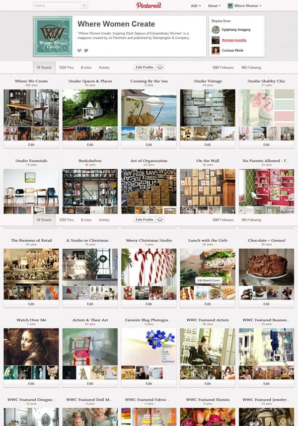 Where Women Create on Pinterest