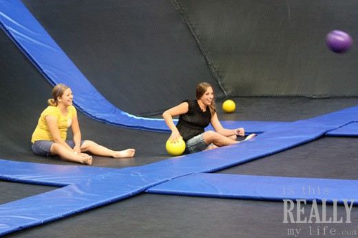 get air hang time indoor trampoline dodge ball