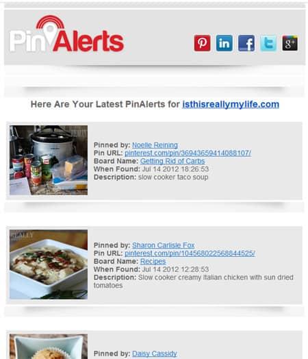 Pinalerts Pinterest alerts