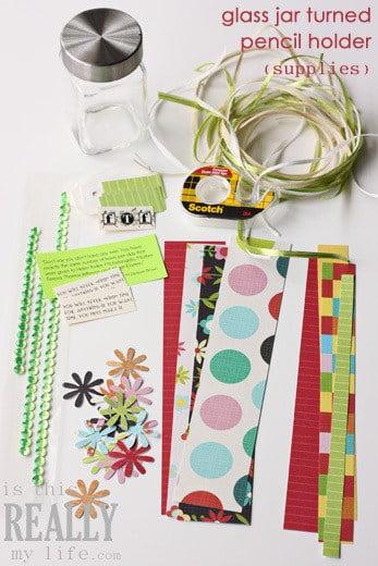 glass jar pencil holder craft (supplies)