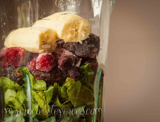 Blender ingredients green smoothie recipe