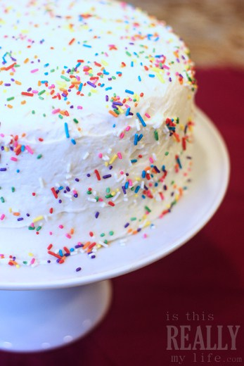 "Homemade confetti (aka ""funfetti"") cake"
