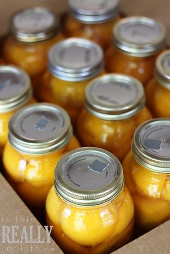 Canned peaches in Kerr jar