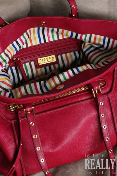 Steven by Steve Madden red leather handbag with striped interior