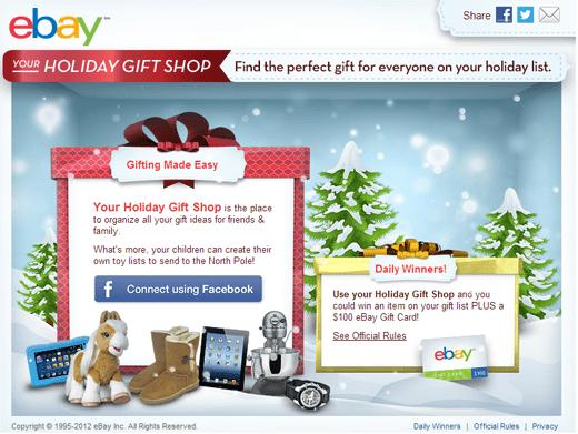 eBay Holiday Gift Shop sweepstakes