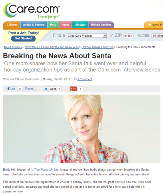 Care.com Breaking the News About Santa