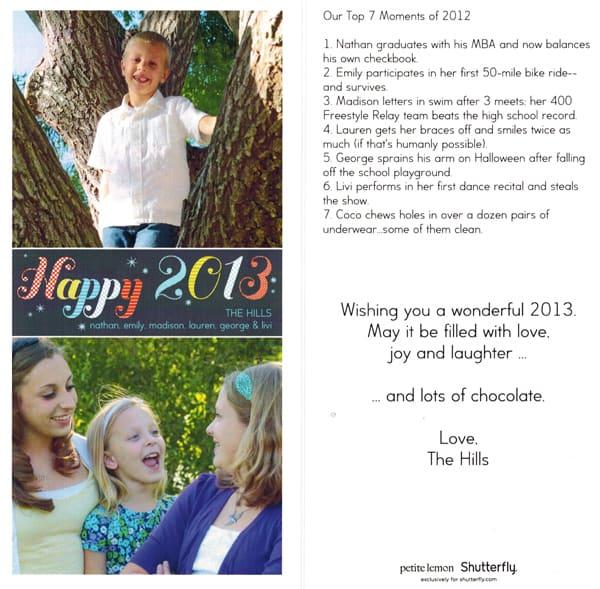 Hill family Christmas card 2012