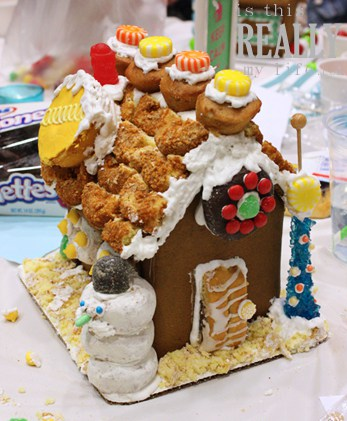 Hostess cupcake gingerbread house (front)