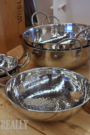 World Market Life of Pi stainless steel hammered karhai bowls