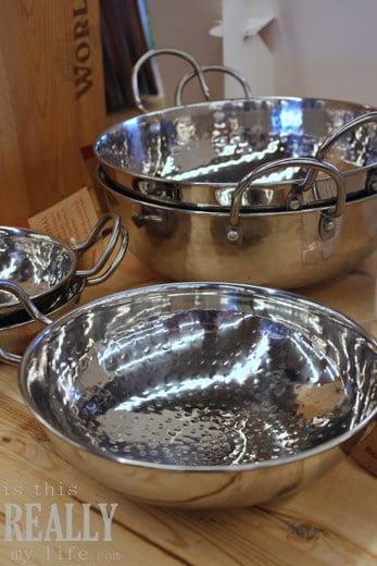 World Market Life of Pi stainless steel hammered karhai bowls