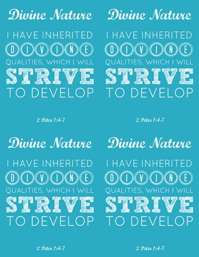 LDS Young Women Divine Nature printable x 4