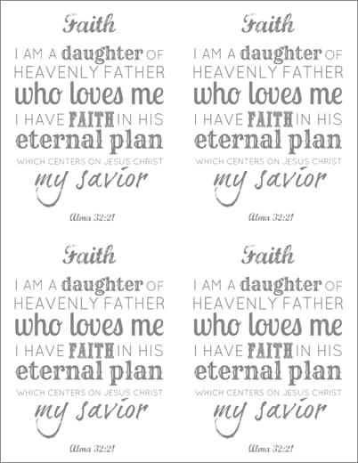 LDS Young Women Faith printable x 4