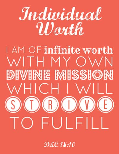 Young Women printable: Individual Worth