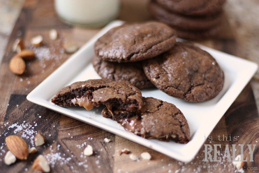 Salted caramel toffee Rolo cookies 1