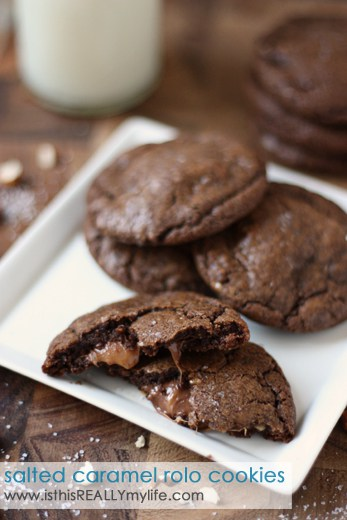 Salted caramel toffee Rolo cookies