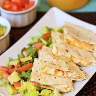 Cilantro garlic chicken quesadillas