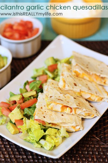 Cilantro garlic chicken quesadillas