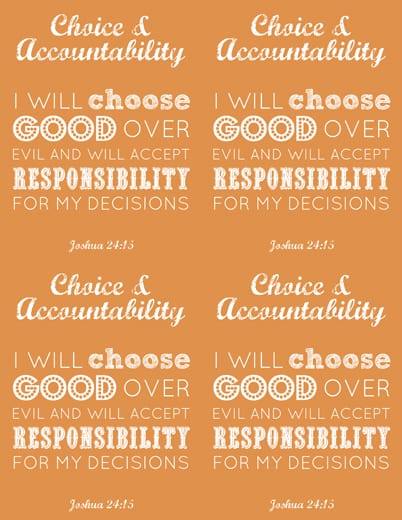 LDS Young Women Choice & Accountability printable x 4