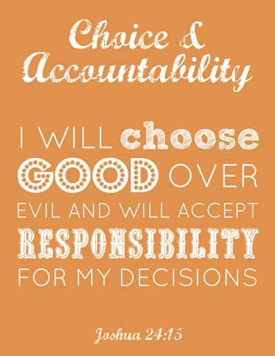 Young Women printable: Choice & Accountability