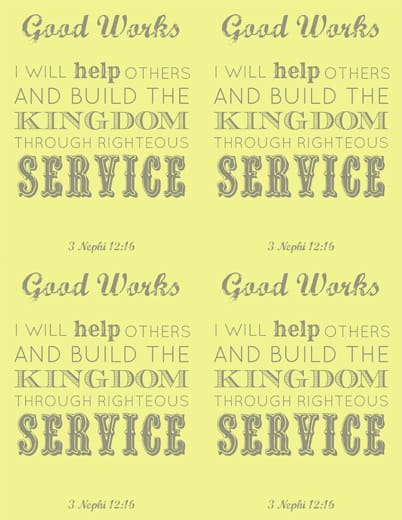 LDS Young Women Good Works printable x 4