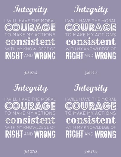 LDS Young Women Integrity printable x 4