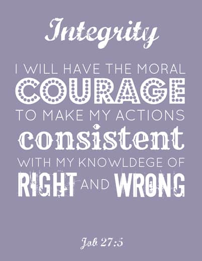 Young Women printable: Integrity
