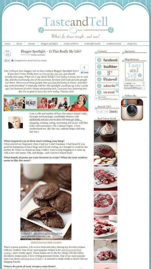 Taste & Tell blogger spotlight