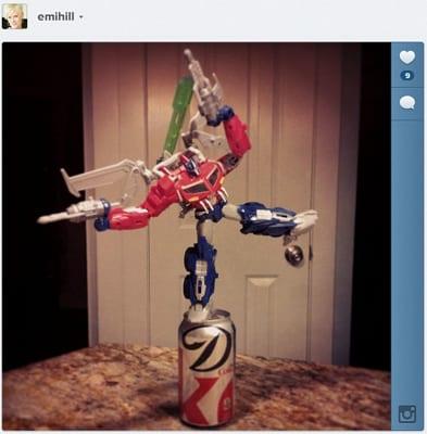 Optimus Prime defends my Diet Coke