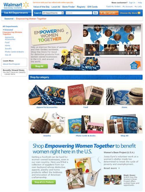 Walmart shop Empowering Women Together