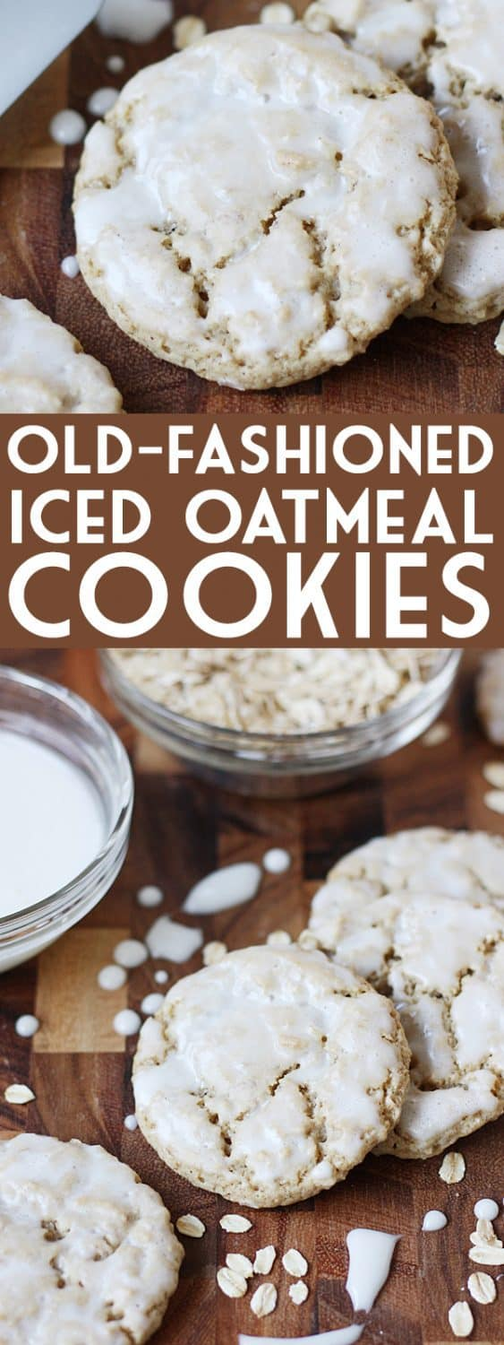 Iced Oatmeal Cookies -- These old-fashioned iced oatmeal cookies are one of my most-requested recipes thanks to a soft, chewy, perfectly-spiced oatmeal cookie topped with a thin layer of vanilla icing. | halfscratched.com