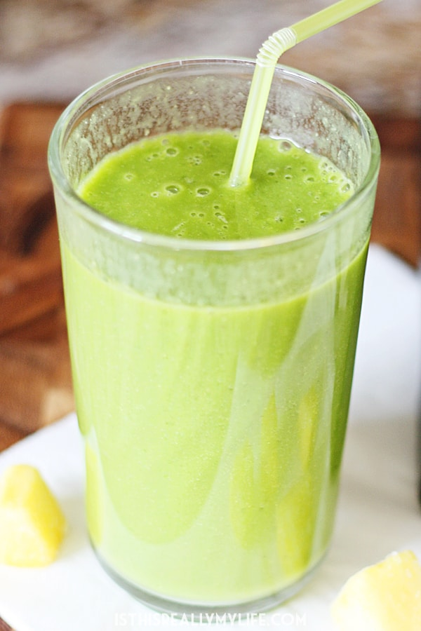 Island Green Smoothie -- Our favorite island green smoothie features the tropical flavors of pineapple and banana combined with fresh baby spinach, almond milk and honey.   halfscratched.com