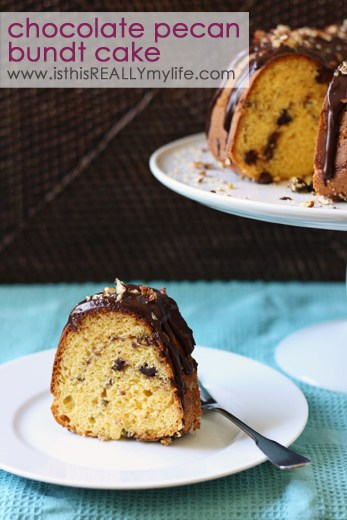 Chocolate pecan bundt cake