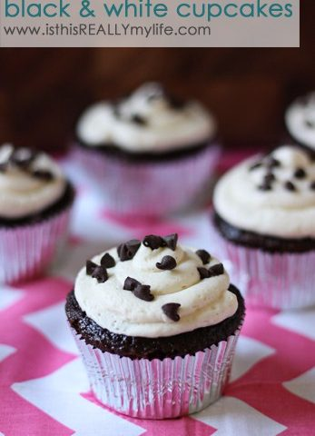 Black and white cupcakes with vanilla bean frosting