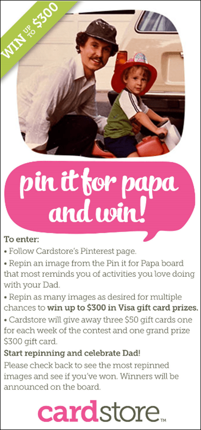 Cardstore Pin It for Papa contest