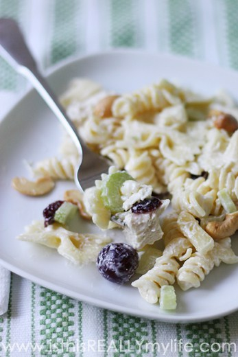 Chicken pasta salad plated