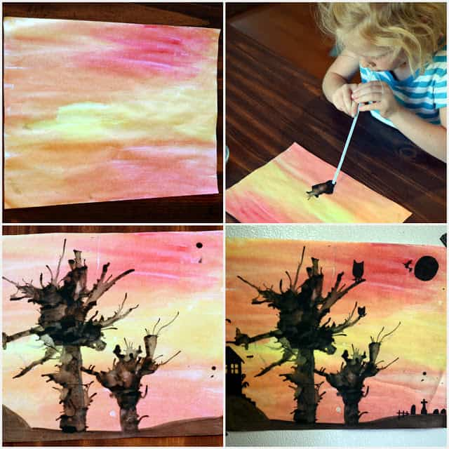 Halloween fall water color and ink craft art project for kids