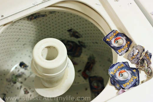 Pokemon cards in the washing machine