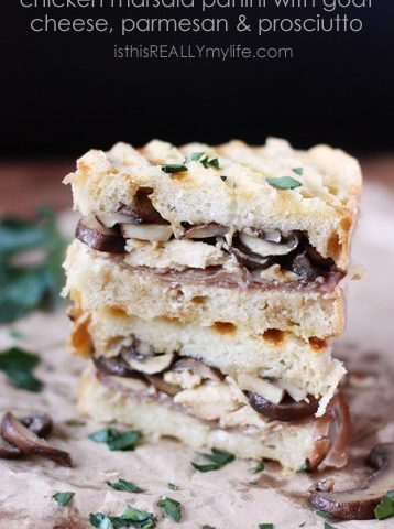 Chicken Marsala panini with goat cheese, prosciutto and Parmesan