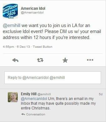 American Idol tweet